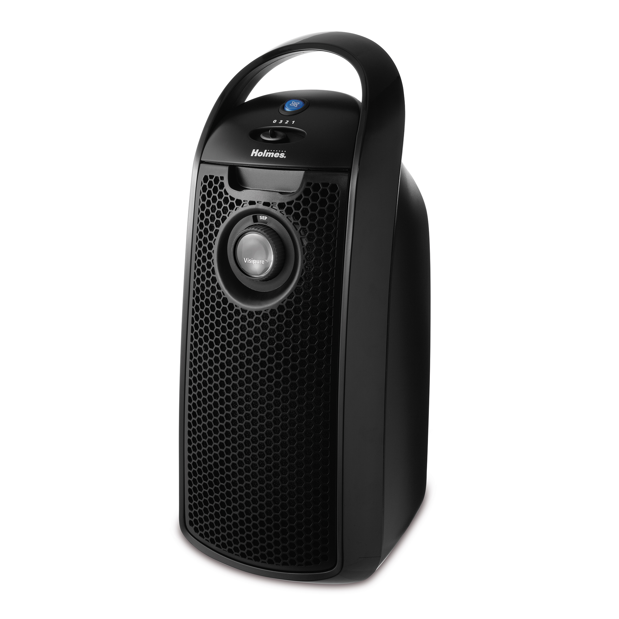 Holmes Mini-Tower HEPA-Type Air Purifier with Visipure Filter Viewing Window, 138 Square Foot Room Capacity, Three Speed, Black (HAP9415-UA)