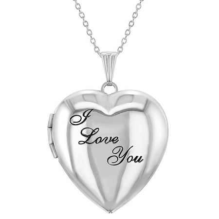 "Remembrance ""I Love You"" Photo Heart Locket Necklace Pendant 19"" - image 8 of 8"