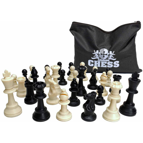 "Classic Tournament Staunton Chessmen, Heavy Weighted Black and Cream Plastic Set with 3.75"" King"