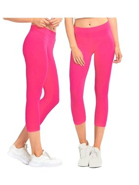 55ed8f69f4aeb Product Image Gilbin 2 Pack Women's Ribbed Waistband Capri Length Leggings,One  Size Fit, Super Stretch