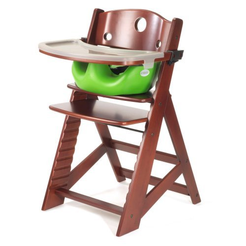 Keekaroo Height Right High Chair Mahogany with Lime Infant Insert and Tray