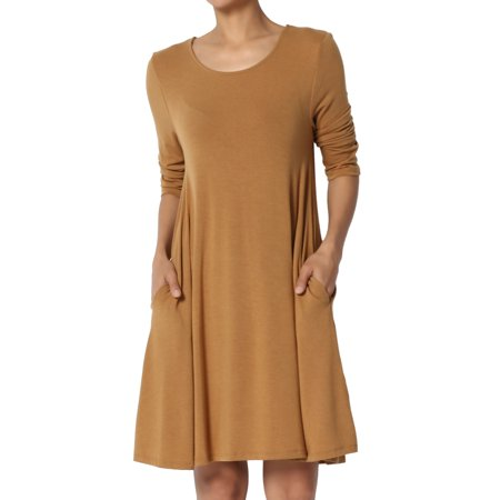 TheMogan Women's S~3XL Basic 3/4 Sleeve Swing Flared Tunic Dress Pocket Long Top - Green Santa Dress