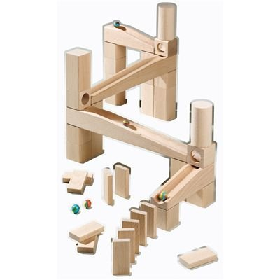 Haba Ball Track Starter Set 44 Piece Wooden Marble Run