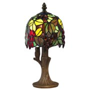 "12.25"" Deep Red and Brown Grape Vine Hand Crafted Glass Tiffany-Style Table Lamp"