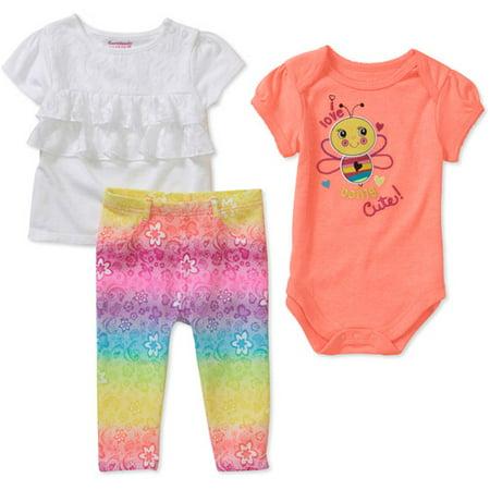Garanimals Newborn Girls 3 Piece Creepe Walmart Com