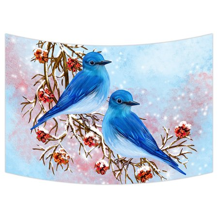 YKCG Merry Christmas Red Cherry Two Blue Bird Sitting on Branch Wall Hanging Tapestry Wall Art 90x60 -