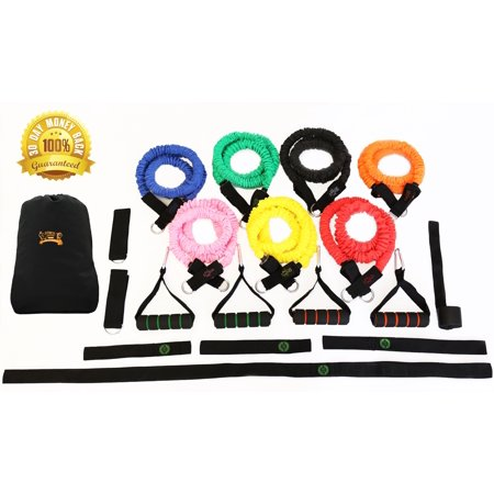 Resistance Band Set_ 23 Piece Exercise Fitness Kit _ 7 SNAP PROOF Stackable Workout Bands
