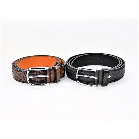 Set of Two Men's Detailed Leather Belts in Brown/Black - (Best Designer Belts 2019)