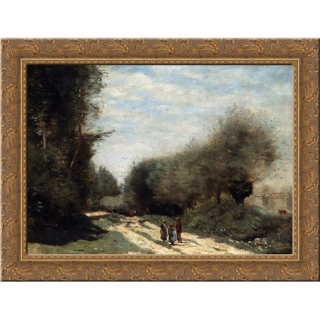 Crecy en Brie Road in the Country 24x18 Gold Ornate Wood Framed Canvas Art by Camille Corot