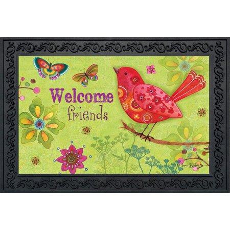 Butterflies and Birds Spring Doormat Indoor Outdoor Welcome Floral 18
