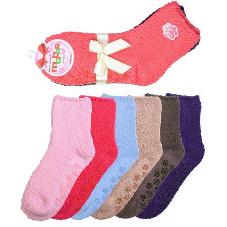 6 Pair of Women Plush Fuzzy Soft Cozy Slipper Socks Warm -