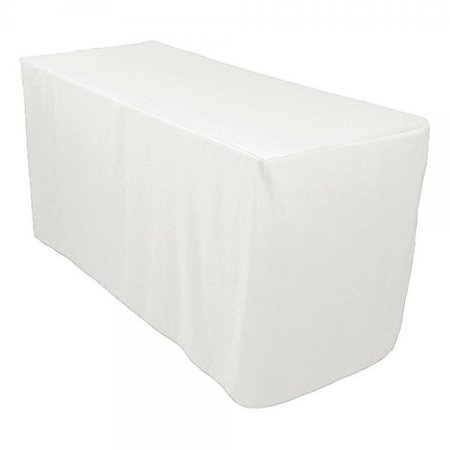 Linentablecloth 4 Ft Fitted Polyester Tablecloth White