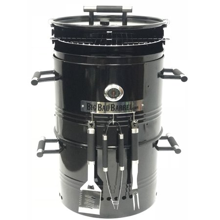 Big Bad Barrel BBQ Smoker Grill 5 in 1 Barrel can be used as a Smoker, Grill, Pizza Oven, Table and Fire Pit.