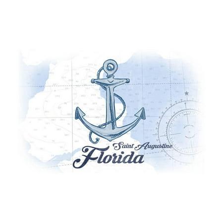Saint Augustine, Florida - Anchor - Blue - Coastal Icon Print Wall Art By Lantern Press - Halloween Saint Augustine