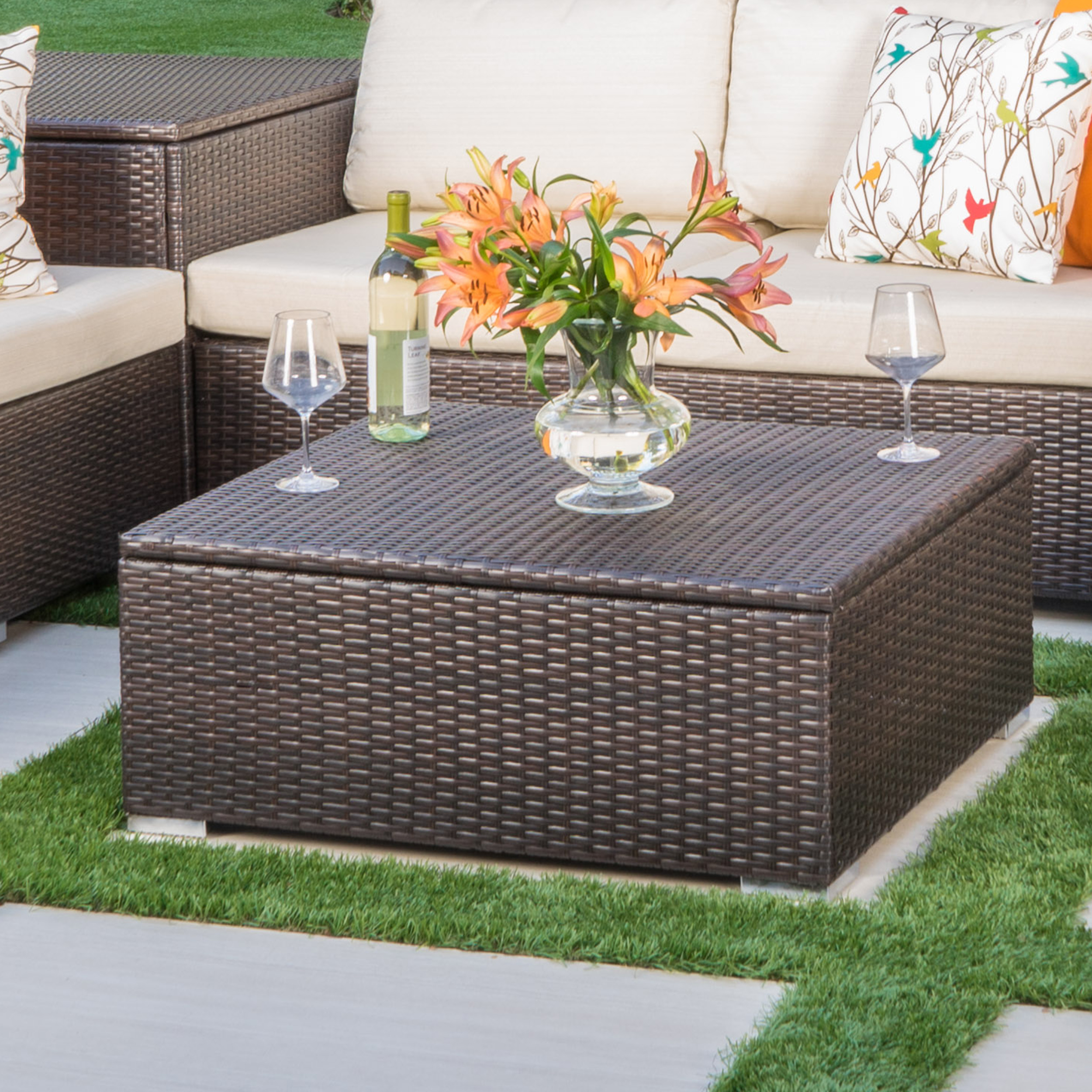 Faviola Outdoor Wicker Coffee Table with Storage, Multibrown by Noble House