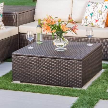Faviola Outdoor Wicker Coffee Table With Storage Multibrown