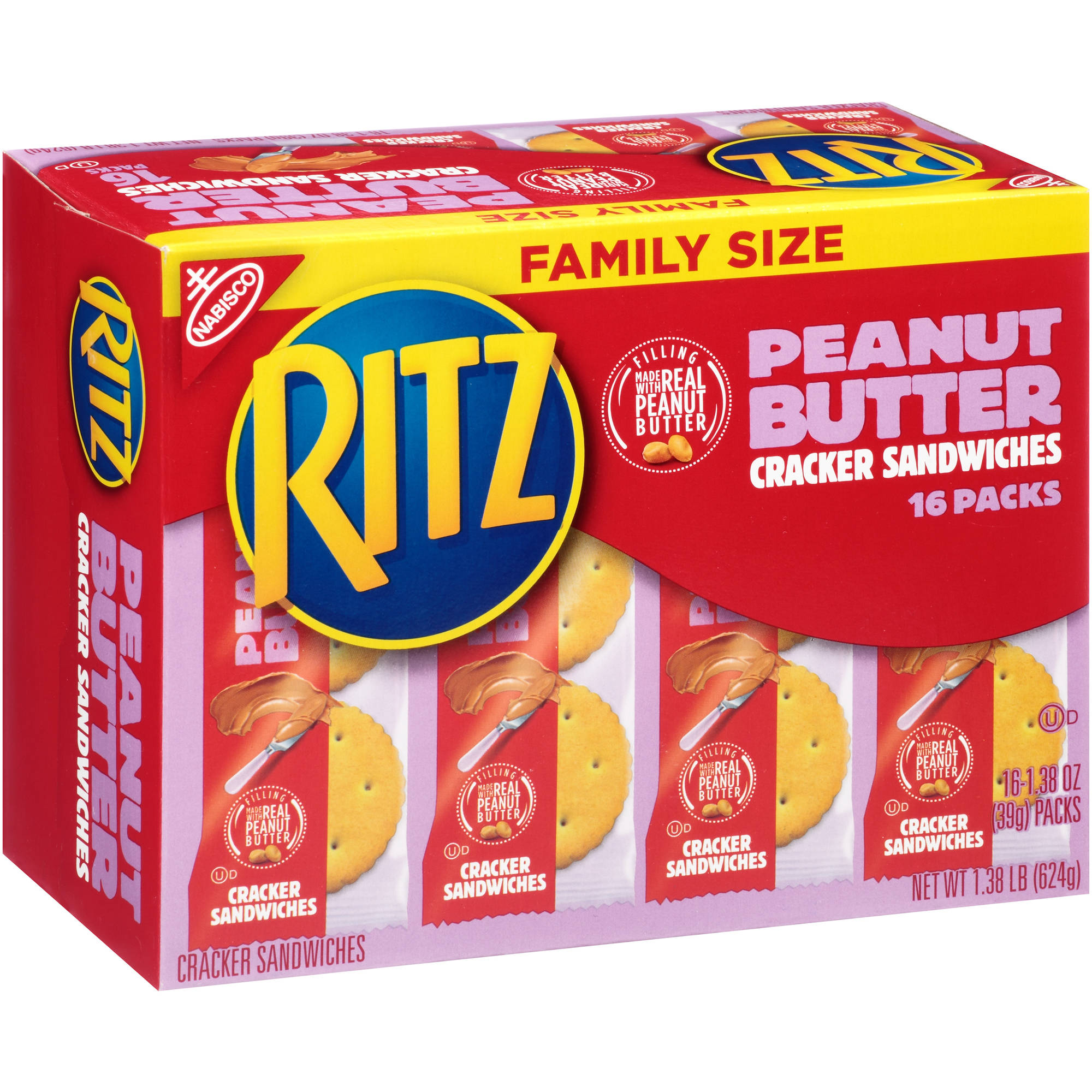 Nabisco Ritz Peanut Butter Cracker Sandwiches, 1.38 oz, 16 count