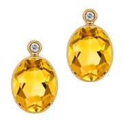 2.32 Ct Oval Yellow Citrine White Topaz 14K Yellow Gold Earrings
