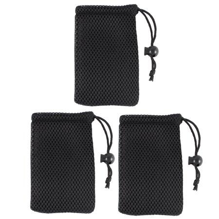 Unique Bargains Black Cell Phone Nylon Mesh Drawstring Pouch Bags 3 -