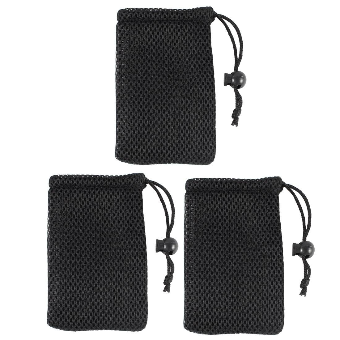 Unique Bargains Black Cell Phone Nylon Mesh Drawstring Pouch Bags 3 Pcs