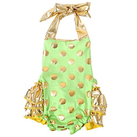 Noah's Boytique Baby Girls Lime and Gold Bubble Romper 0-3 Months