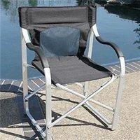 Deluxe Aluminum Folding Director Chair - Black