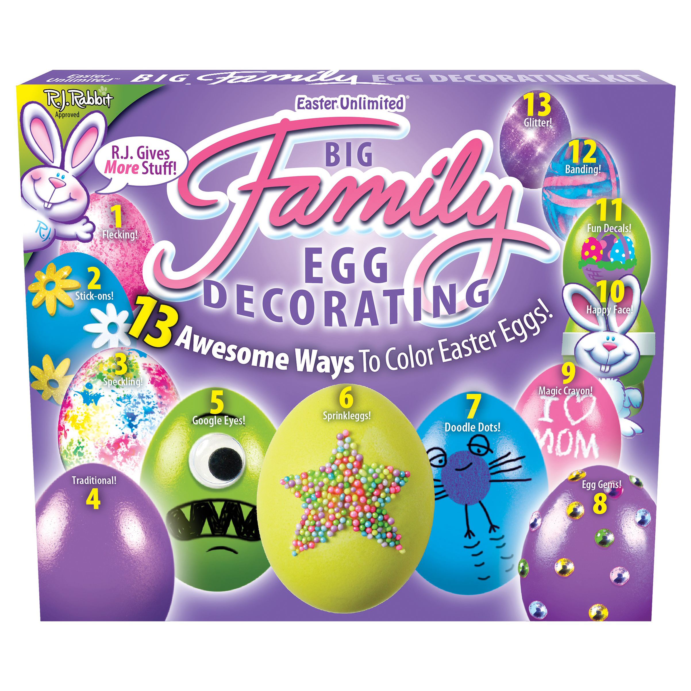 """Easter Eggs Decoration Kit By Cocoapod: Easter Unlimited Big Family Easter Eggs Deco Supply 9"""" Egg"""
