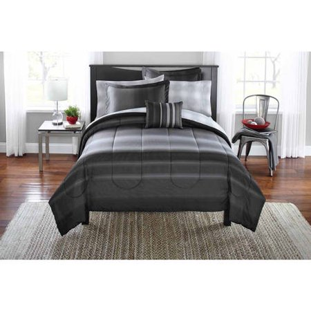 Mainstays Twin or Twin XL Grey Ombre Bed in a Bag Bedding Set, 6 Piece