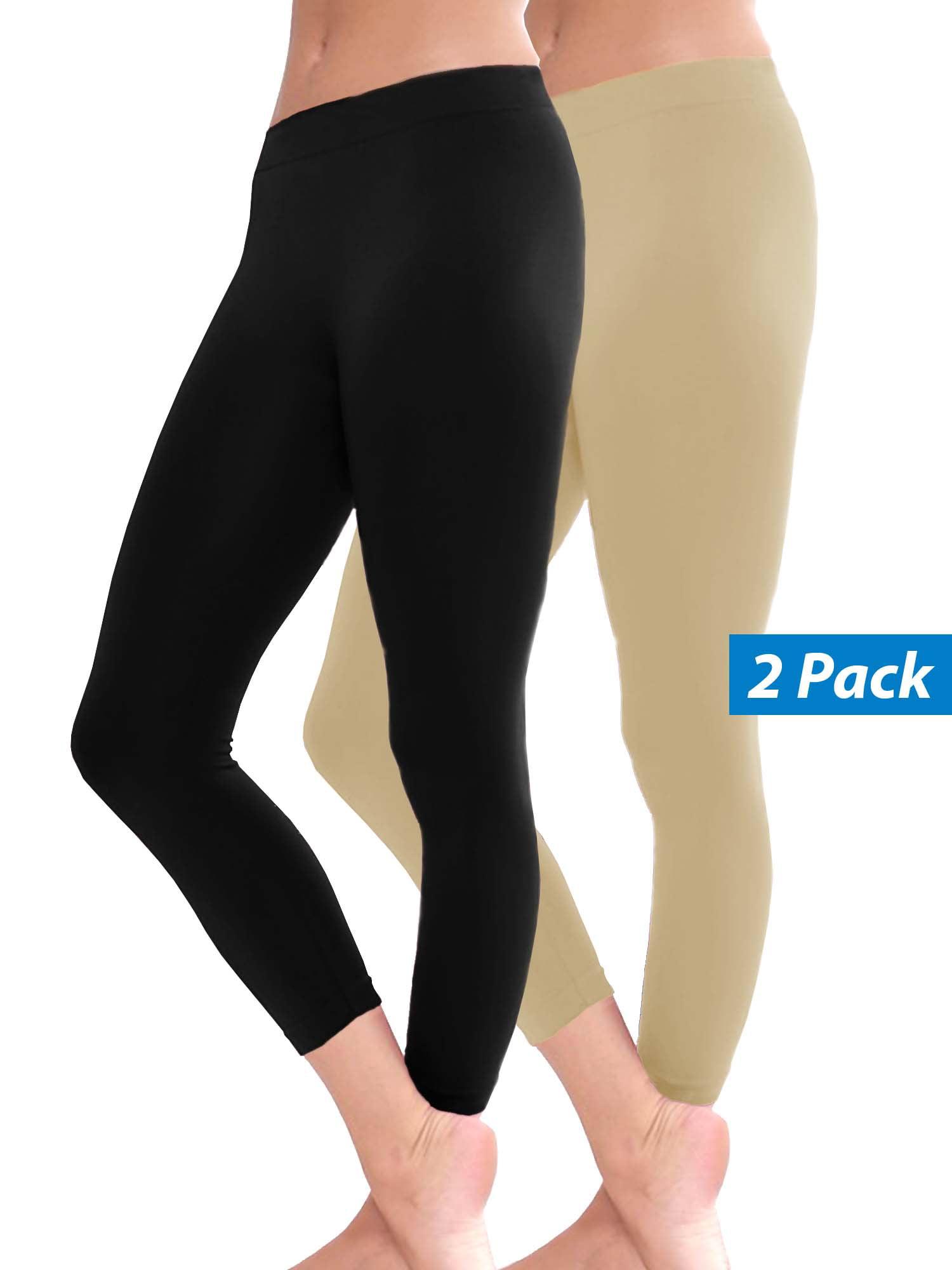 2 Pack Women Seamless Basic Stretch Capri Sports Yoga Leggings