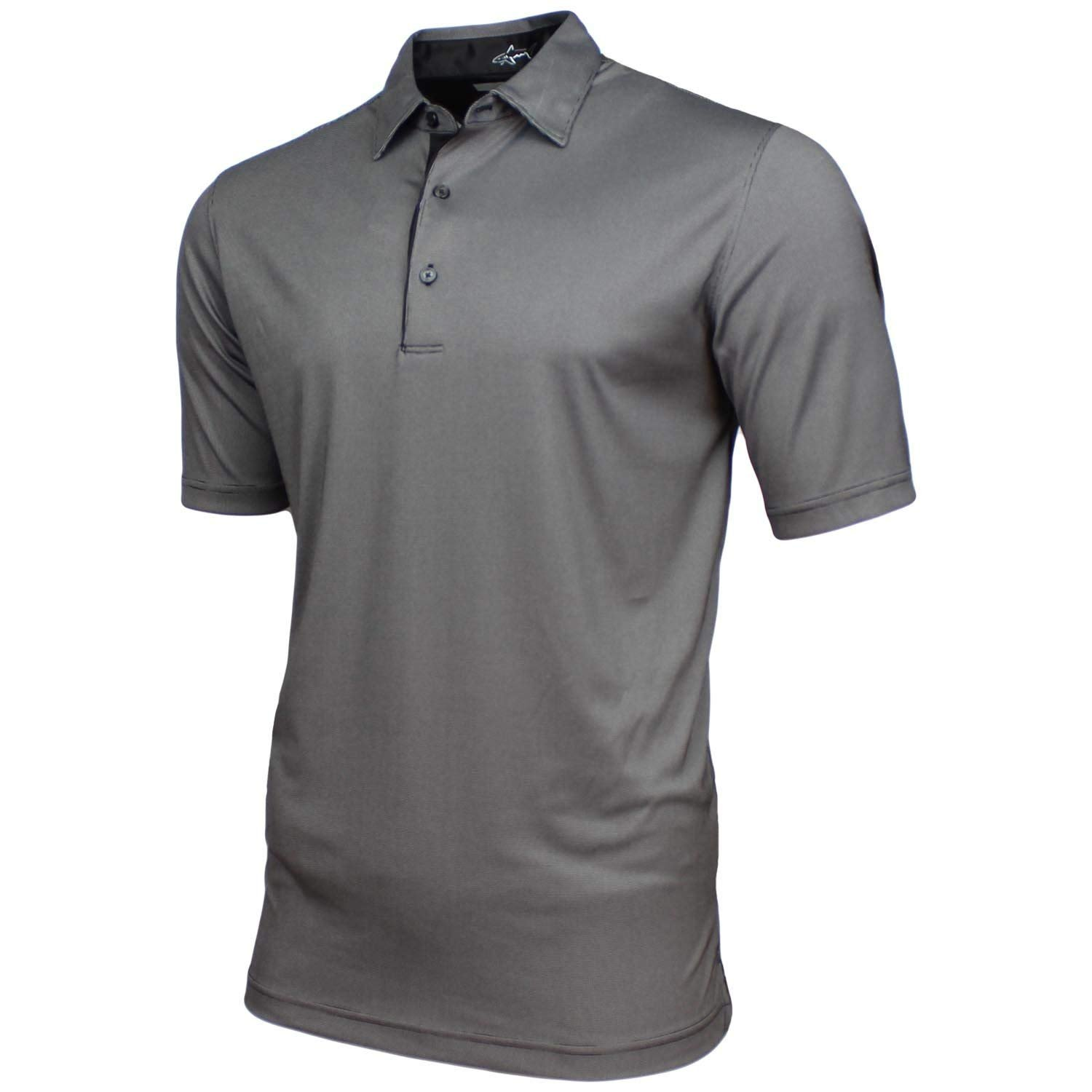 Greg Norman Mens Technical Performance Play Dry Golf Polo (Large, Black)