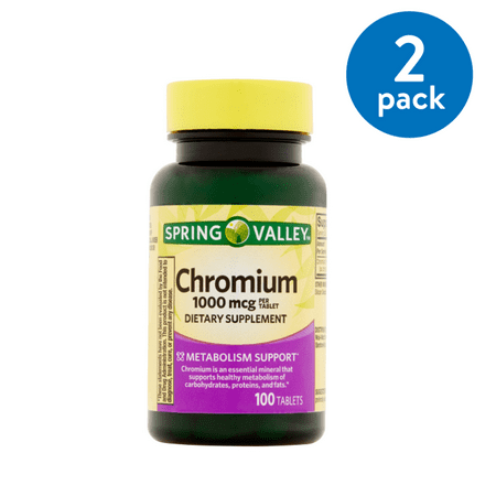(2 Pack) Spring Valley Chromium Tablets, 1000 mcg, 100 Ct 1000 Mcg Time Release Tablets