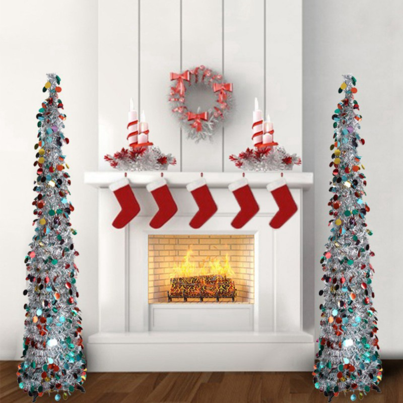Shiny Tinsel Christmas Tree, Decorative Artificial Tree for Home & Party & Wedding, Collapsible & Reusable