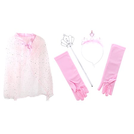 Pink Dress Costumes (Pretend Play Dress Up Mozlly Pink Princess Twinkle Star Costume Cape and Mozlly Pink Royal Princess Marabou Tiara Wand and Gloves Set (4pc)