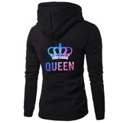 New Fashion King And Queen Long Sleeve Hoodies Casual Loose Couple Hoodies Pullover Hoodie Sweatshirts