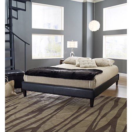 premier elite faux leather queen black upholstered platform bed frame with bonus base wooden slat system