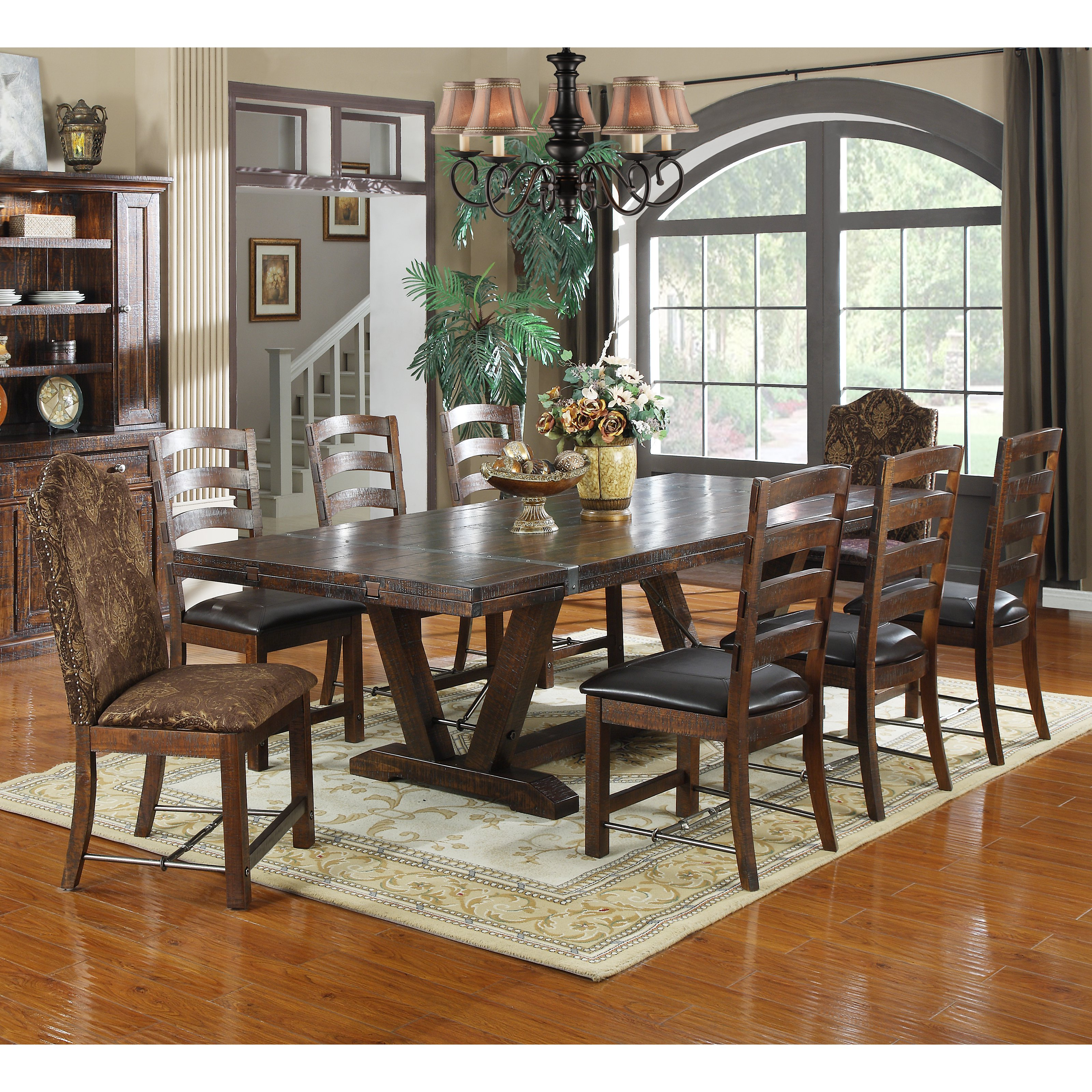 Emerald Home Castlegate Extra Long Trestle Dining Table With 16 In. End  Leaves