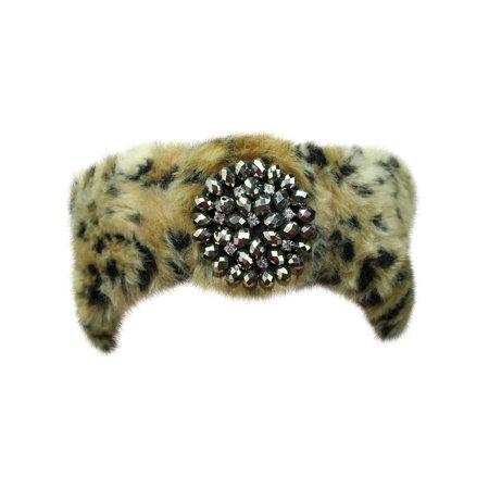 Faux Fur Headband With Beaded - Fur Headband