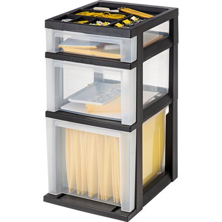 IRIS 3-Drawer File Storage Cart with Organizer Top, Black