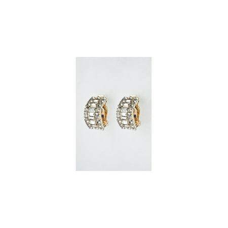 - Gold Crystal Rhinestone Semi Circle Clip Earrings with Baguette Crystal Rhinestones