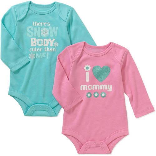 Garanimals Newborn Baby Girl Attitude Bodysuits, 2-Pack