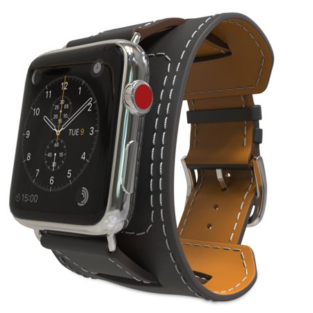 S-Tech Cuff Band Replacement Strap for Apple Watch 38 mm 40mm 42mm 44mm Series 1 2 3 4 Genuine Leather Smart Watch Band Cuff (Black, 42/44mm) ()