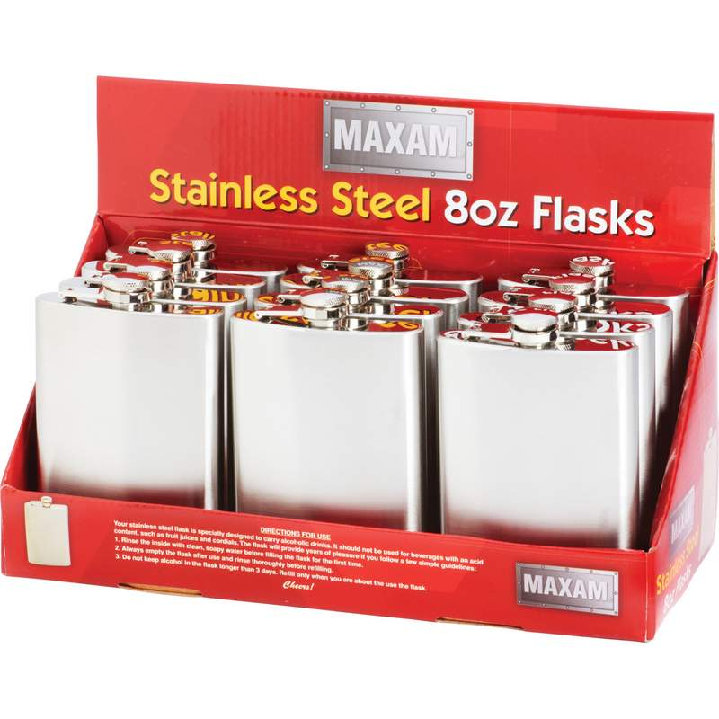 Maxam® 12pc 8oz Stainless Steel Flasks in Countertop Display