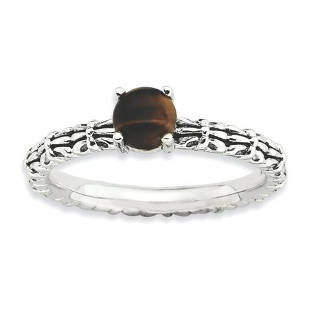 Sterling Silver Stackable Expressions Tigers Eye Antiqued Ring Size 7