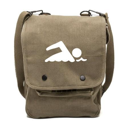 Swimming Swimmer Canvas Crossbody Travel Map Bag