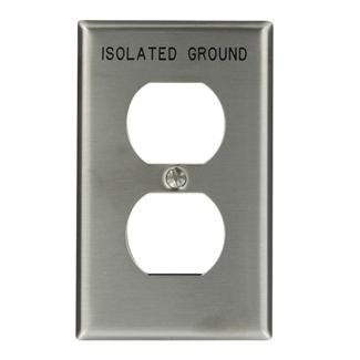 Leviton 84003-IG 1-Gang Duplex Device Receptacle Wallplate, Device Mount, Engraved Isolated Ground, Stainless Steel