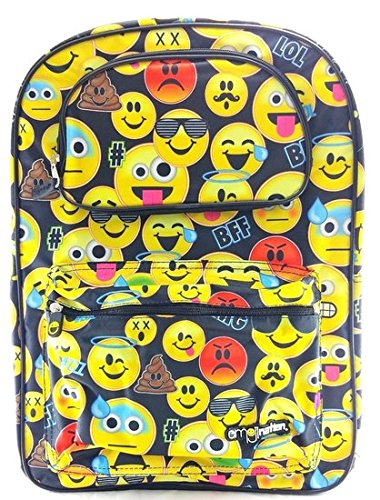 """nation Boys & Girls 16"""" inches Canvas Yellow School Backpack, 1 main zippered compartment By emoji"""
