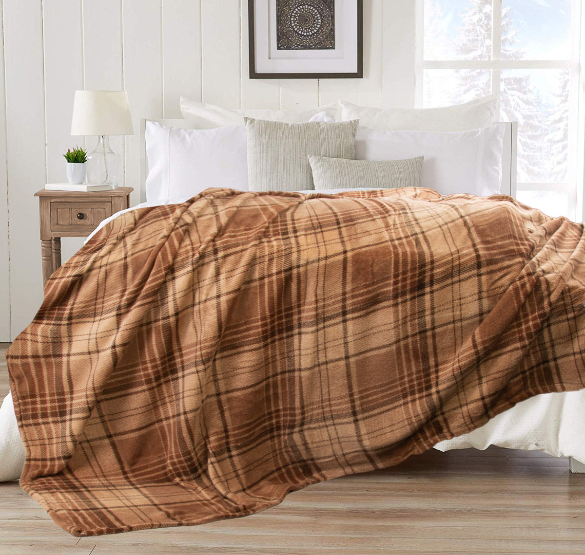 "Berkshire 90"" x 90"" Blanket Plush Plaid Fuzzy Throw Blanket For Couch Chair Bed Full Size Or Queen Mattress"