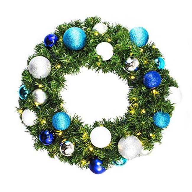 Queens of Christmas WL-GWSQ-04-ARTIC-LWW 4 ft. Pre Lit Warm White LED Sequoia Wreath Decorated with Artic Collection