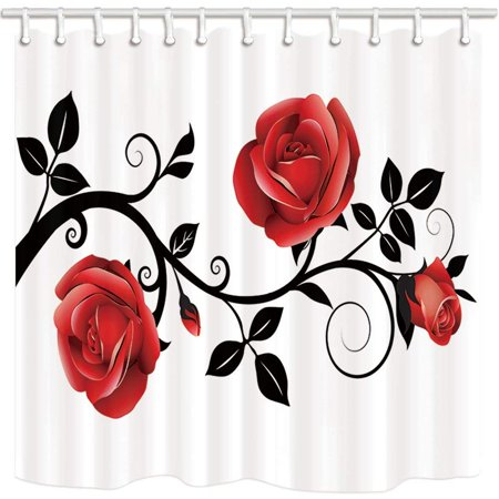 ARTJIA Flower Concise Style Red Rose Black Branch White Background Polyester Fabric Bathroom Shower Curtain 66x72 (Red Curtain Fabric)