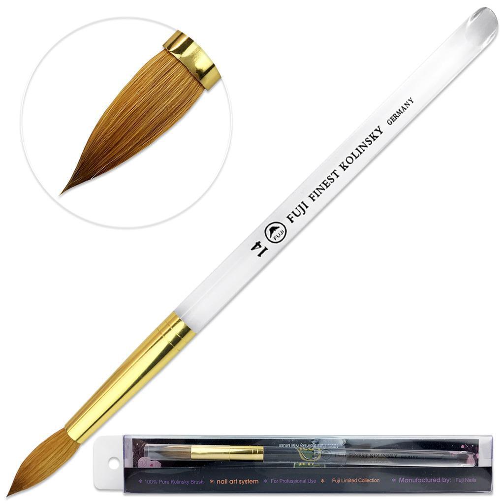 Fuji Finest Kolinsky Acrylic Nail Brush with Round Acrylic Handle Size 14